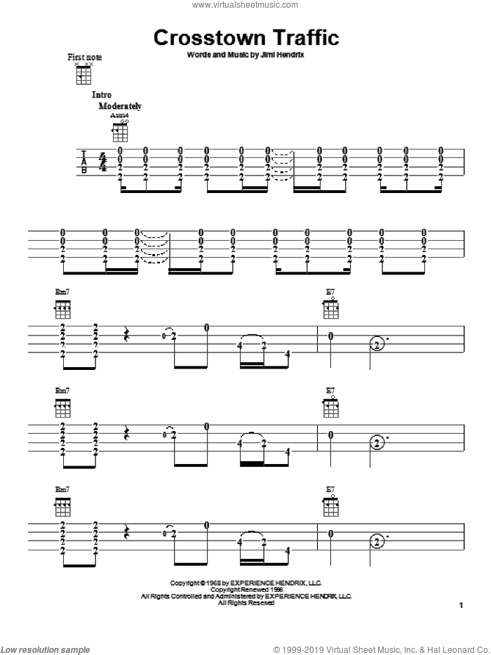 Crosstown Traffic sheet music for ukulele by Jimi Hendrix. Score Image Preview.
