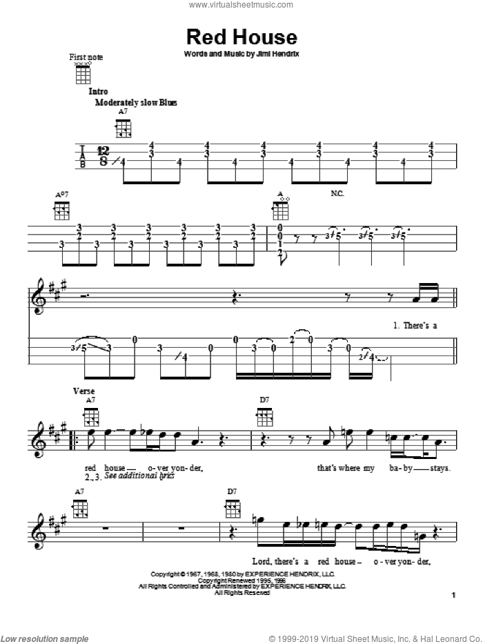 Red House sheet music for ukulele by Jimi Hendrix, intermediate skill level