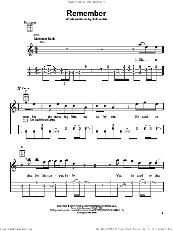 Remember sheet music for ukulele by Jimi Hendrix, intermediate skill level