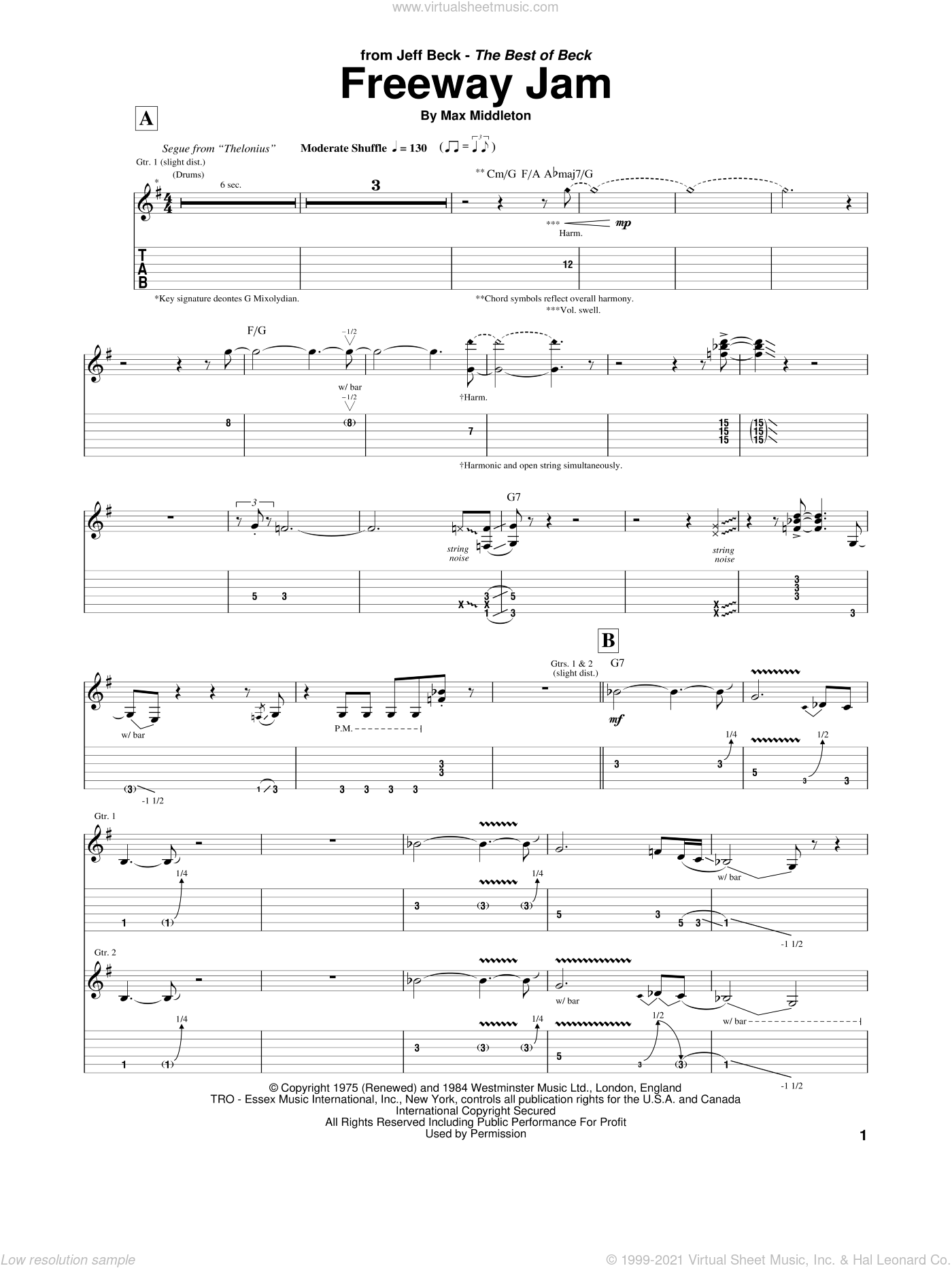 Freeway Jam sheet music for guitar (tablature) by Jeff Beck and Max Middleton. Score Image Preview.