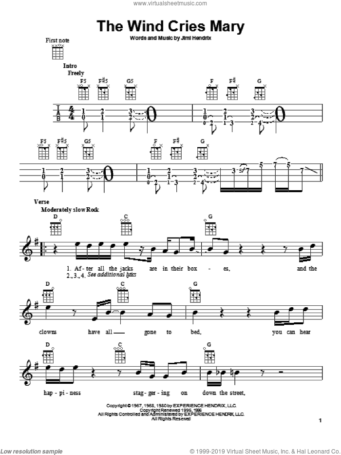 The Wind Cries Mary sheet music for ukulele by Jimi Hendrix. Score Image Preview.