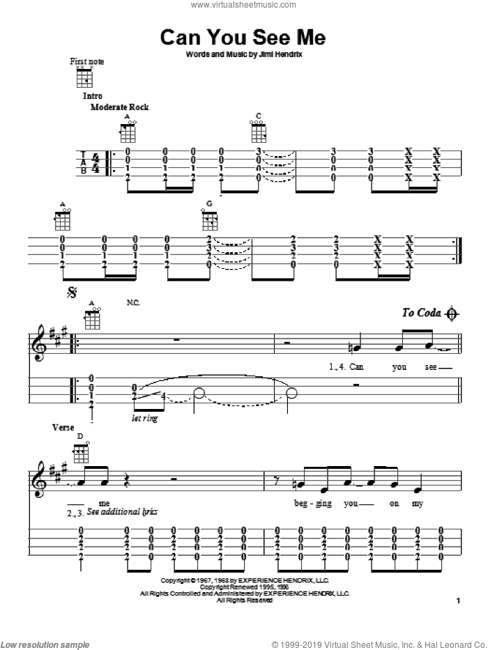 Can You See Me sheet music for ukulele by Jimi Hendrix, intermediate skill level