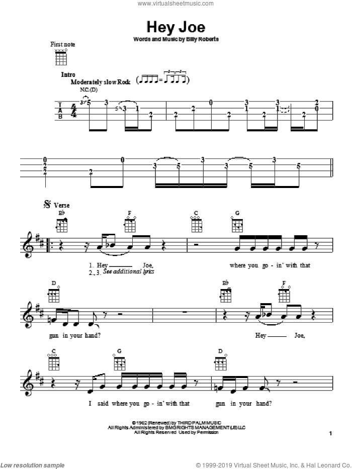 Hey Joe sheet music for ukulele by Jimi Hendrix and Billy Roberts, intermediate skill level