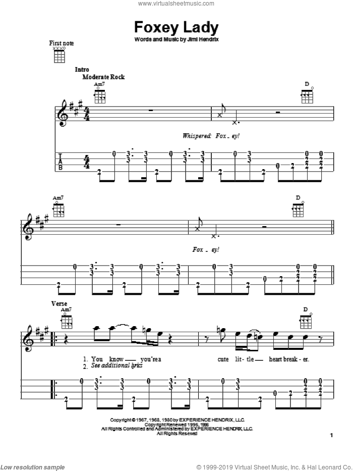 Foxey Lady sheet music for ukulele by Jimi Hendrix, intermediate skill level