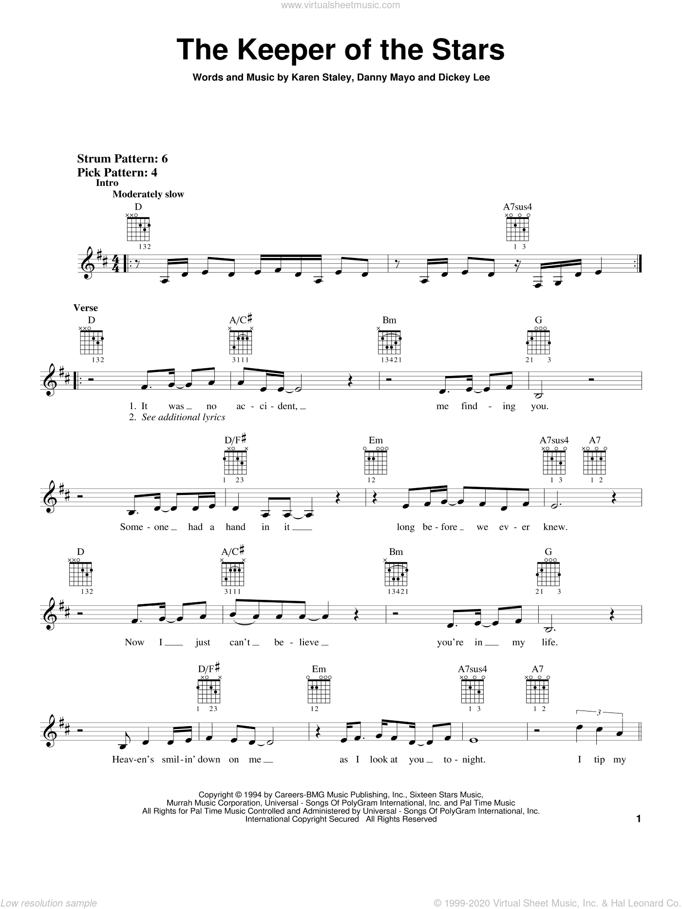 The Keeper Of The Stars sheet music for guitar solo (chords) by Tracy Byrd, Dickey Lee and Karen Staley. Score Image Preview.