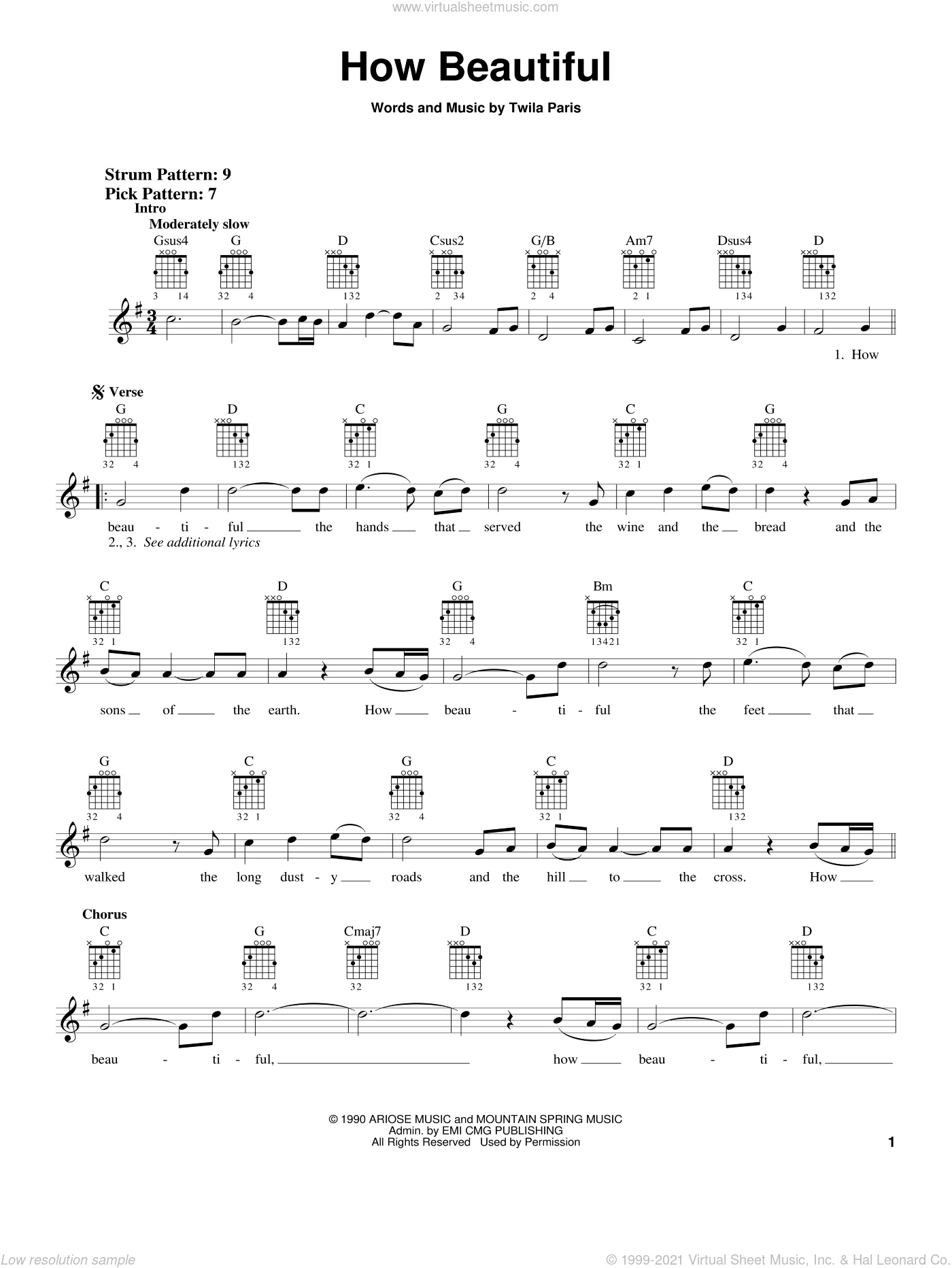 How Beautiful sheet music for guitar solo (chords) by Twila Paris, wedding score, easy guitar (chords)