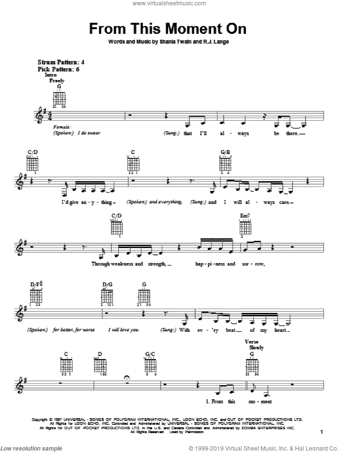 From This Moment On sheet music for guitar solo (chords) by Shania Twain and Robert John Lange, wedding score, easy guitar (chords)