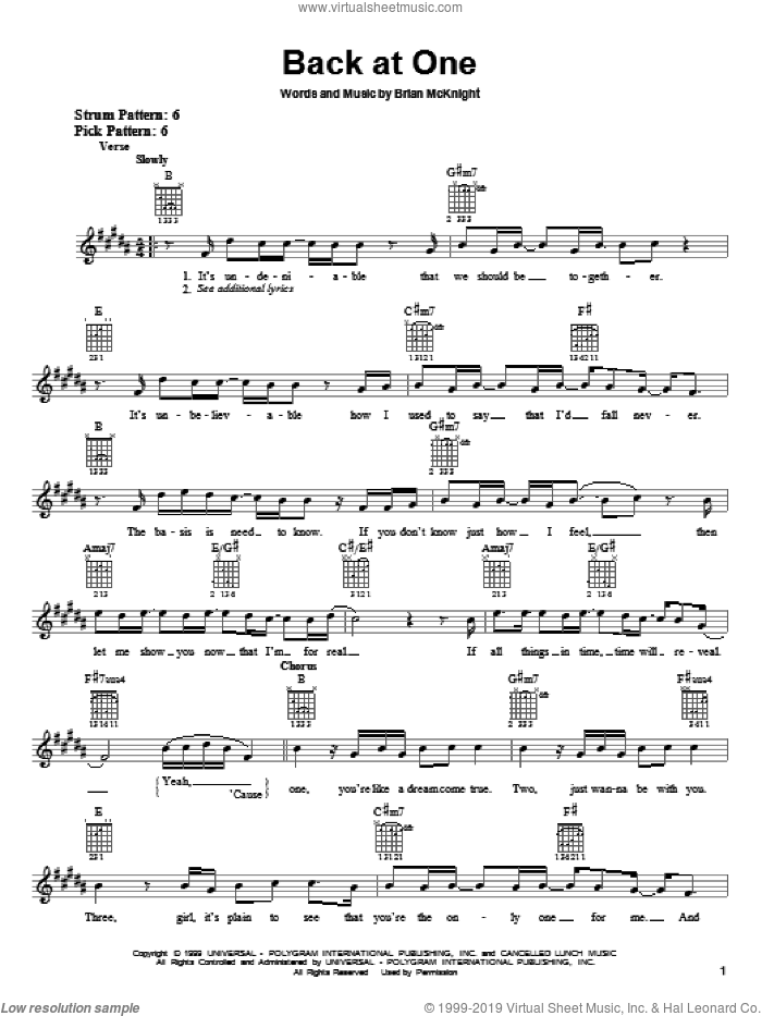 Back At One sheet music for guitar solo (chords) by Brian McKnight, wedding score, easy guitar (chords)