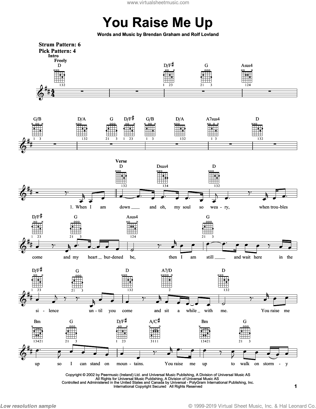 You Raise Me Up sheet music for guitar solo (chords) by Josh Groban, Secret Garden, Brendan Graham and Rolf Lovland, wedding score, easy guitar (chords). Score Image Preview.