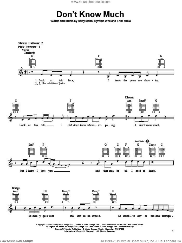 Don't Know Much sheet music for guitar solo (chords) by Aaron Neville and Linda Ronstadt, Aaron Neville, Linda Ronstadt, Linda Ronstadt and Aaron Neville, Barry Mann, Cynthia Weil and Tom Snow, wedding score, easy guitar (chords)