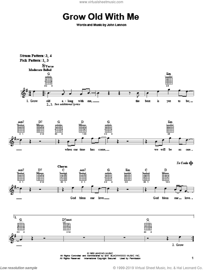 Grow Old With Me sheet music for guitar solo (chords) by John Lennon and Mary Chapin Carpenter, wedding score, easy guitar (chords)