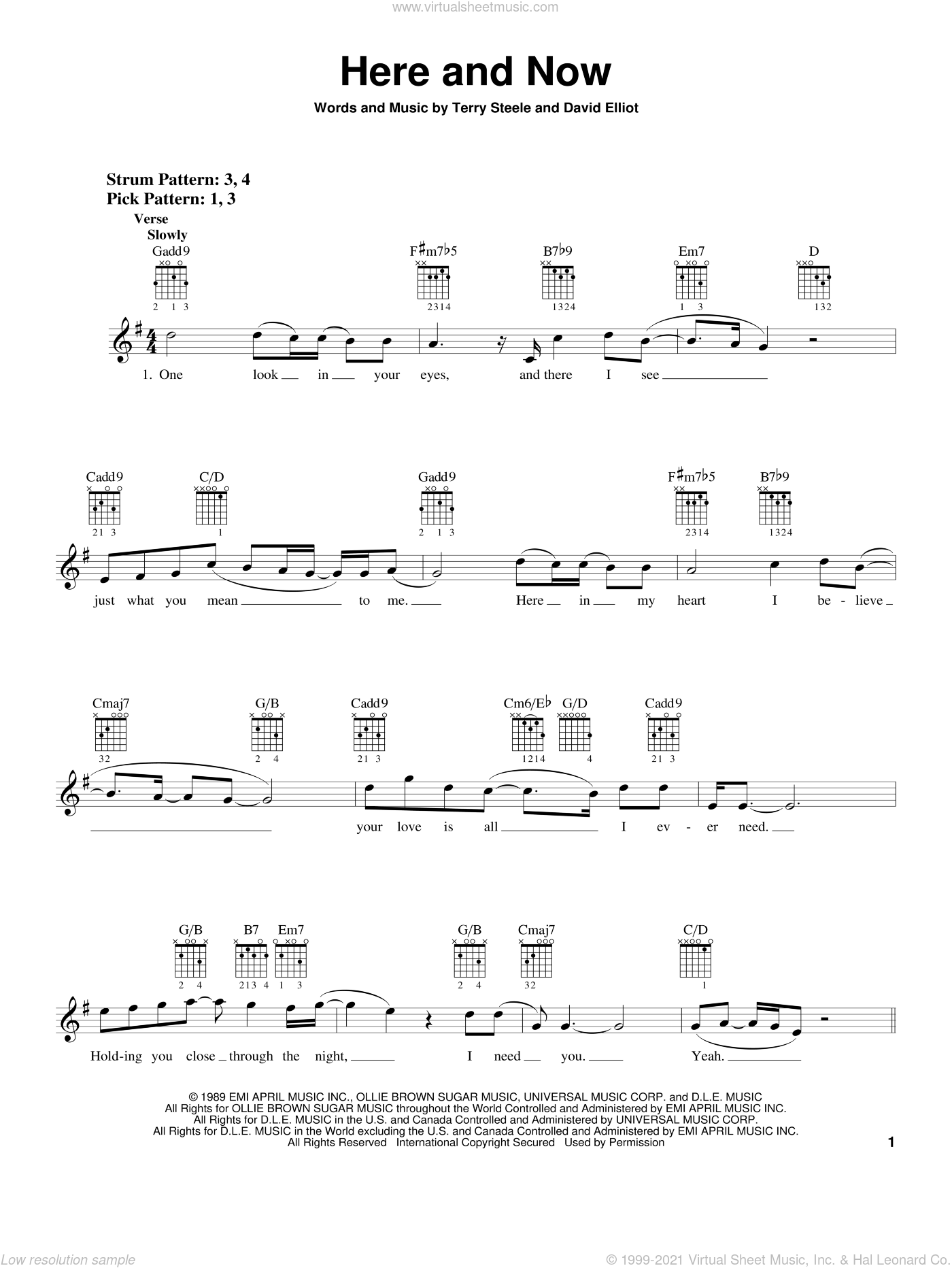 Here And Now sheet music for guitar solo (chords) by Terry Steele