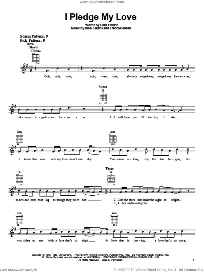 I Pledge My Love sheet music for guitar solo (chords) by Peaches & Herb, Dino Fekaris and Frederick Perren, wedding score, easy guitar (chords)