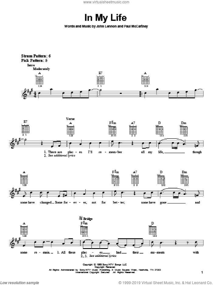 In My Life sheet music for guitar solo (chords) by Paul McCartney, The Beatles and John Lennon. Score Image Preview.
