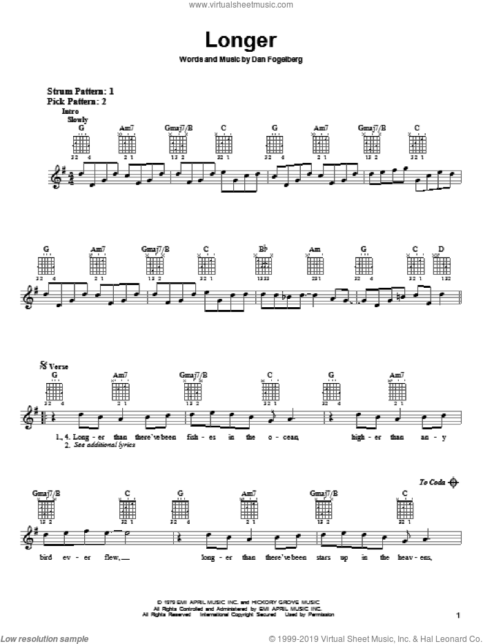 Longer sheet music for guitar solo (chords) by Dan Fogelberg. Score Image Preview.
