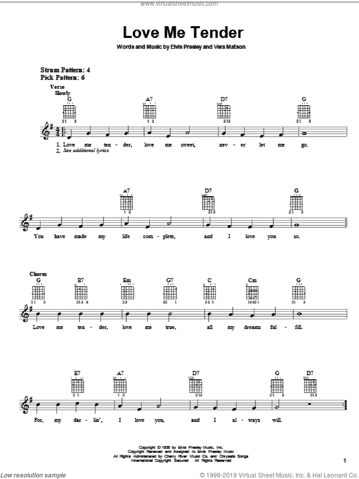 Love Me Tender sheet music for guitar solo (chords) by Elvis Presley and Vera Matson, easy guitar (chords)