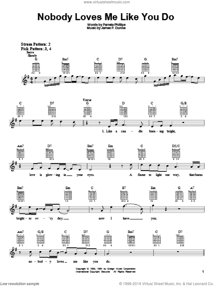 Nobody Loves Me Like You Do sheet music for guitar solo (chords) by Anne Murray, James P. Dunne and Pamela Phillips, wedding score, easy guitar (chords)