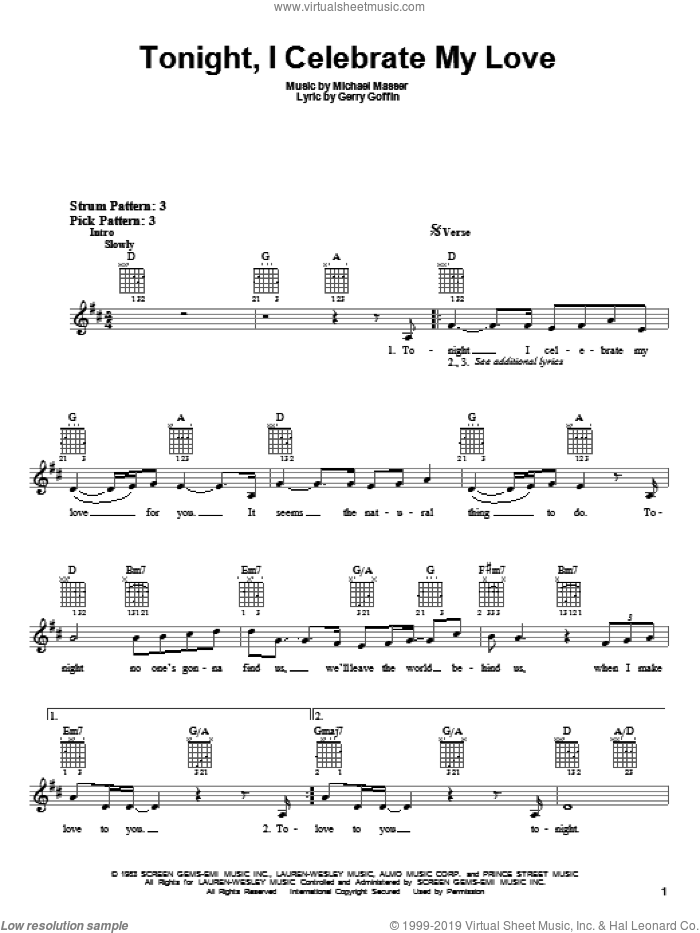 Tonight, I Celebrate My Love sheet music for guitar solo (chords) by Michael Masser, Peabo Bryson, Roberta Flack and Gerry Goffin. Score Image Preview.