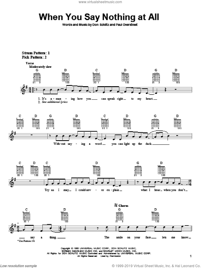 When You Say Nothing At All sheet music for guitar solo (chords) by Alison Krauss & Union Station, Alison Krauss, Keith Whitley, Don Schlitz and Paul Overstreet, wedding score, easy guitar (chords)