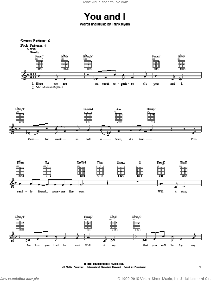 You And I sheet music for guitar solo (chords) by Frank Myers, Crystal Gayle and Eddie Rabbitt. Score Image Preview.