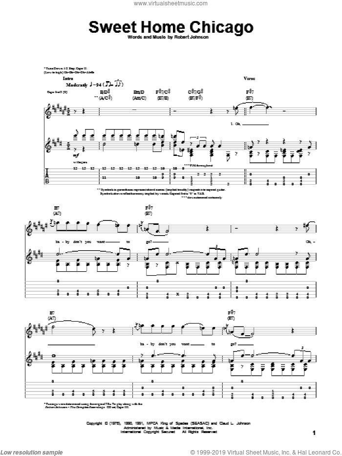 Sweet Home Chicago sheet music for guitar (tablature) by Robert Johnson, Blues Brothers and Freddie King. Score Image Preview.