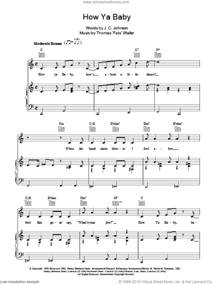 How Ya Baby sheet music for voice, piano or guitar by Thomas Waller and J.C. Johnson, intermediate voice, piano or guitar. Score Image Preview.