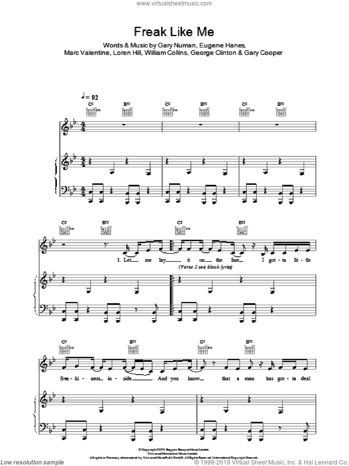 Freak Like Me sheet music for voice and piano by Sugababes, Eugene Hanes, Gary Cooper, Gary Numan, George Clinton, Loren Hill, Marc Valentine and William Collins, intermediate. Score Image Preview.