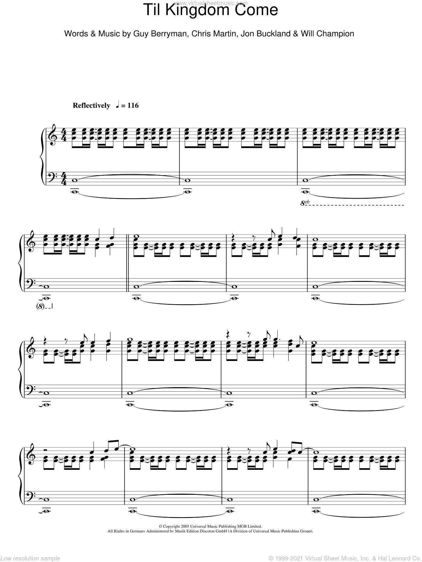 'Til Kingdom Come sheet music for piano solo by Will Champion, Coldplay, Chris Martin, Guy Berryman and Jon Buckland. Score Image Preview.