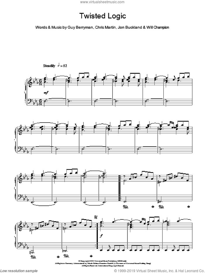 Twisted Logic sheet music for piano solo by Coldplay, Chris Martin, Guy Berryman, Jon Buckland and Will Champion, intermediate skill level