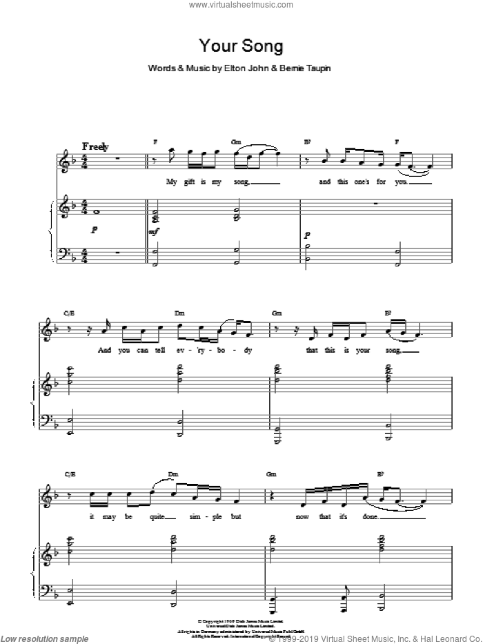 Your Song sheet music for voice and piano by Bernie Taupin and Elton John. Score Image Preview.
