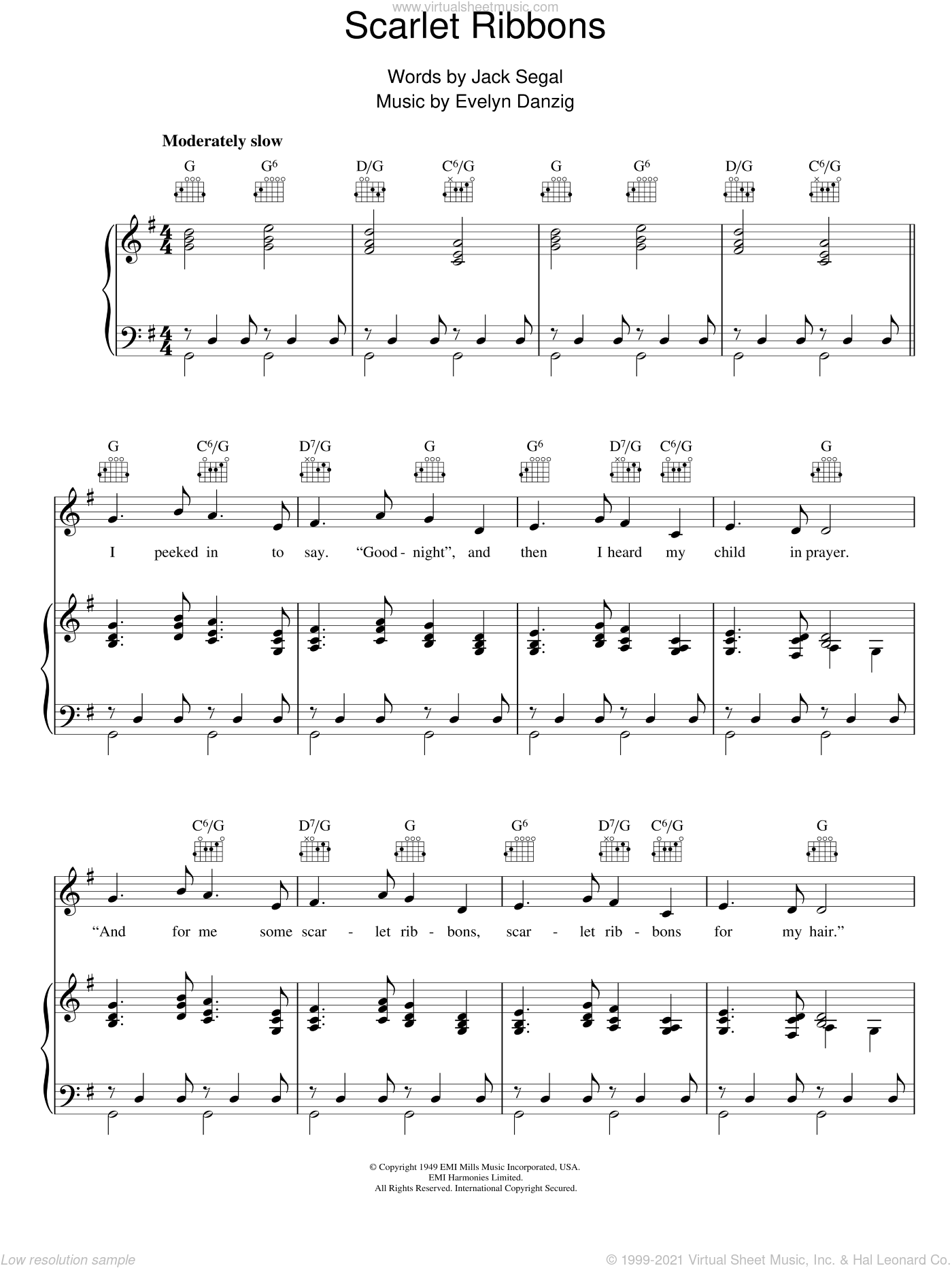 Scarlet Ribbons sheet music for voice, piano or guitar by Evelyn Danzig and Jack Segal, intermediate voice, piano or guitar. Score Image Preview.
