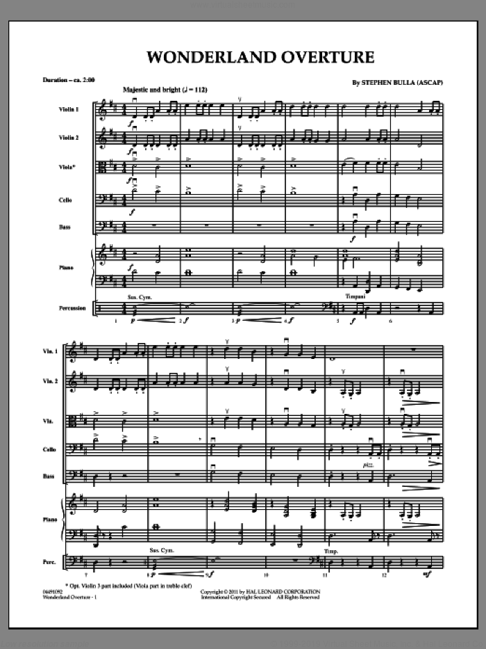 Wonderland Overture (COMPLETE) sheet music for orchestra by Stephen Bulla, intermediate skill level