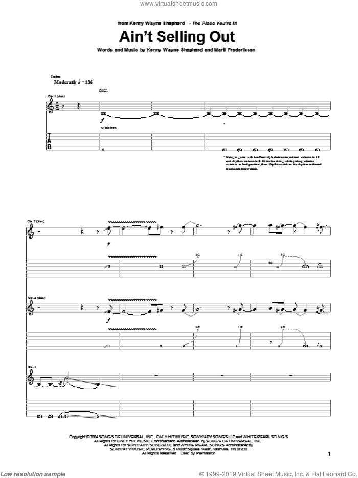 Ain't Selling Out sheet music for guitar (tablature) by Kenny Wayne Shepherd and Marti Frederiksen, intermediate skill level