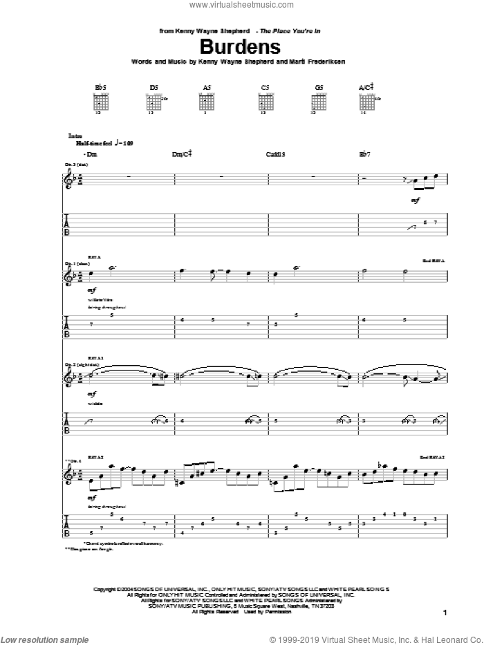 Burdens sheet music for guitar (tablature) by Marti Frederiksen and Kenny Wayne Shepherd. Score Image Preview.