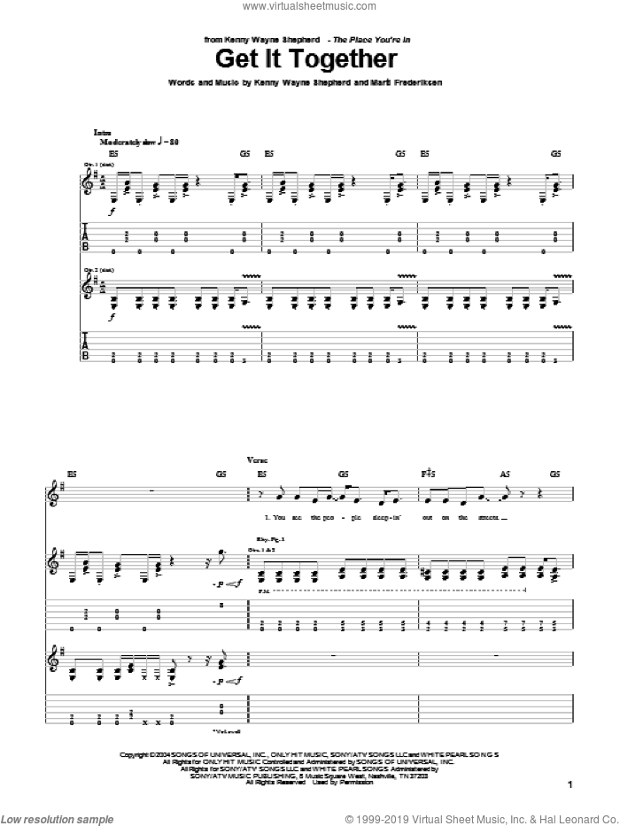 Get It Together sheet music for guitar (tablature) by Marti Frederiksen and Kenny Wayne Shepherd