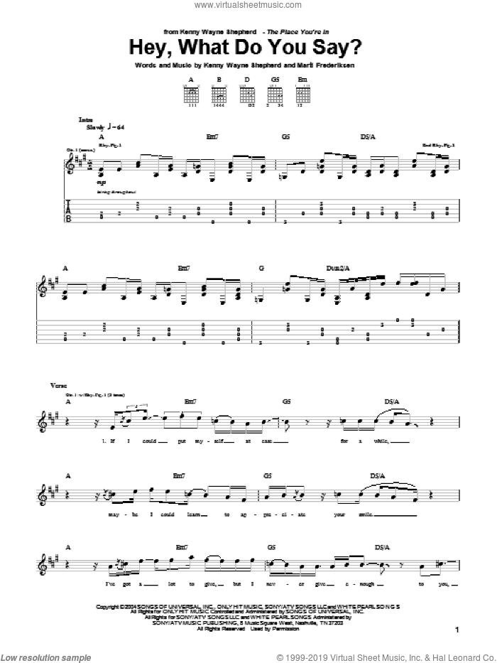 Hey, What Do You Say? sheet music for guitar (tablature) by Marti Frederiksen and Kenny Wayne Shepherd