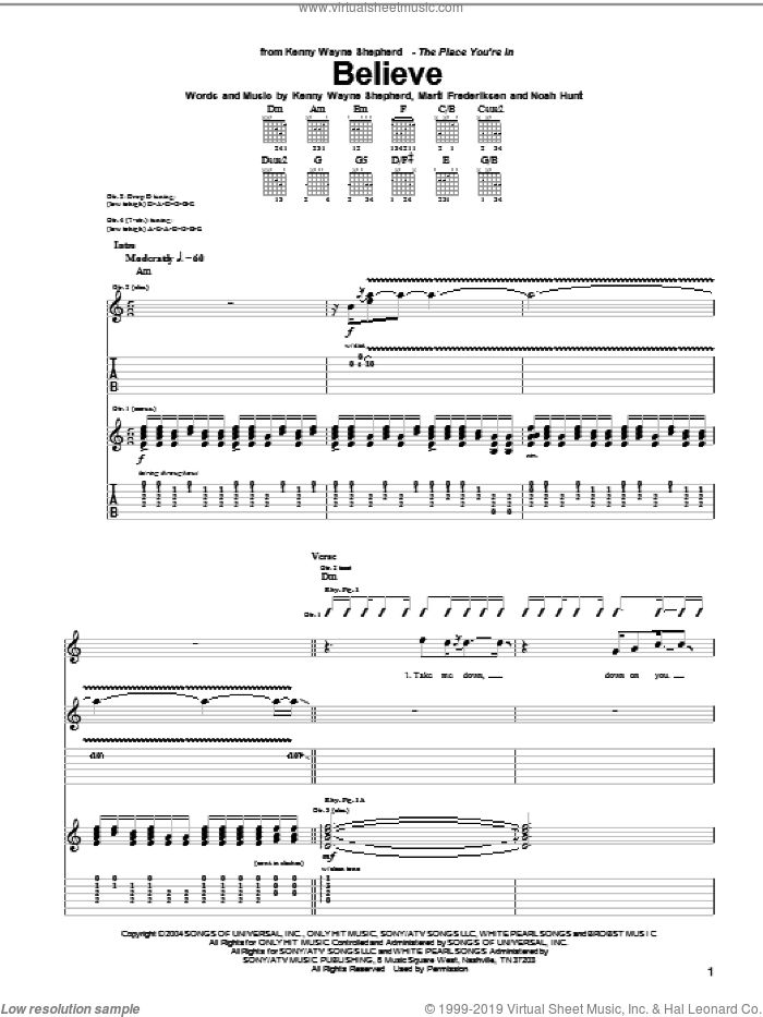 Believe sheet music for guitar (tablature) by Kenny Wayne Shepherd, Marti Frederiksen and Noah Hunt, intermediate skill level