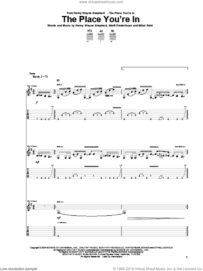 The Place You're In sheet music for guitar (tablature) by Mike Reid