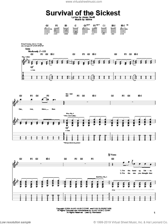 Survival Of The Sickest sheet music for guitar (tablature) by Saliva and Josey Scott, intermediate. Score Image Preview.