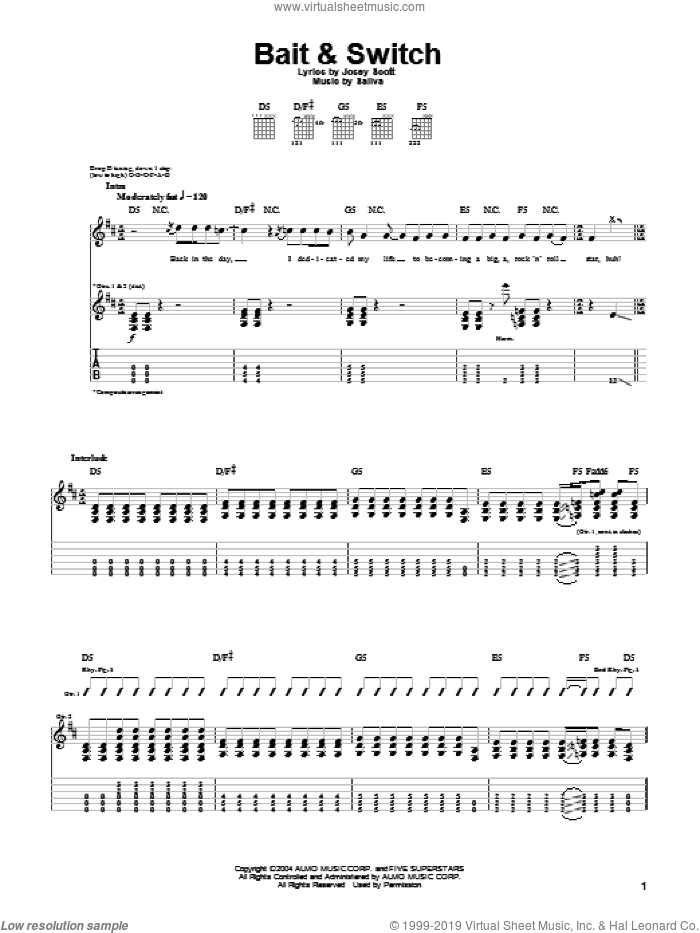 Bait and Switch sheet music for guitar (tablature) by Saliva and Josey Scott, intermediate skill level