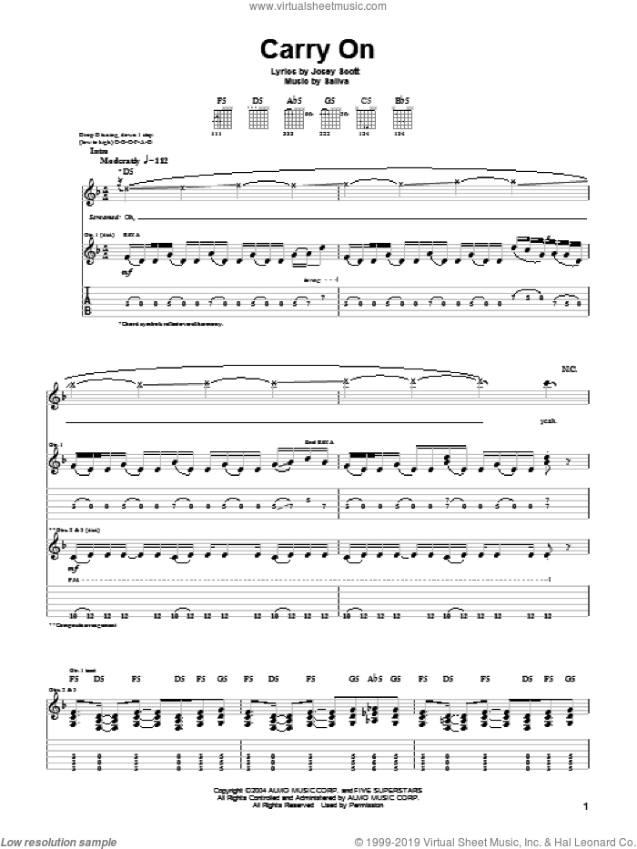 Carry On sheet music for guitar (tablature) by Saliva and Josey Scott, intermediate skill level