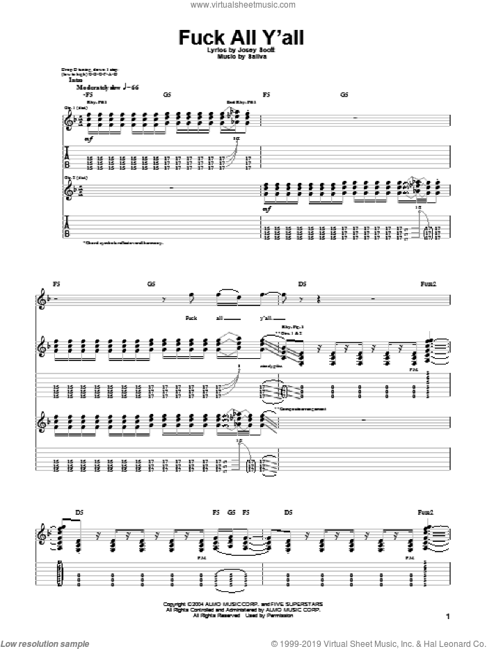 F*** All Y'all sheet music for guitar (tablature) by Saliva and Josey Scott, intermediate. Score Image Preview.