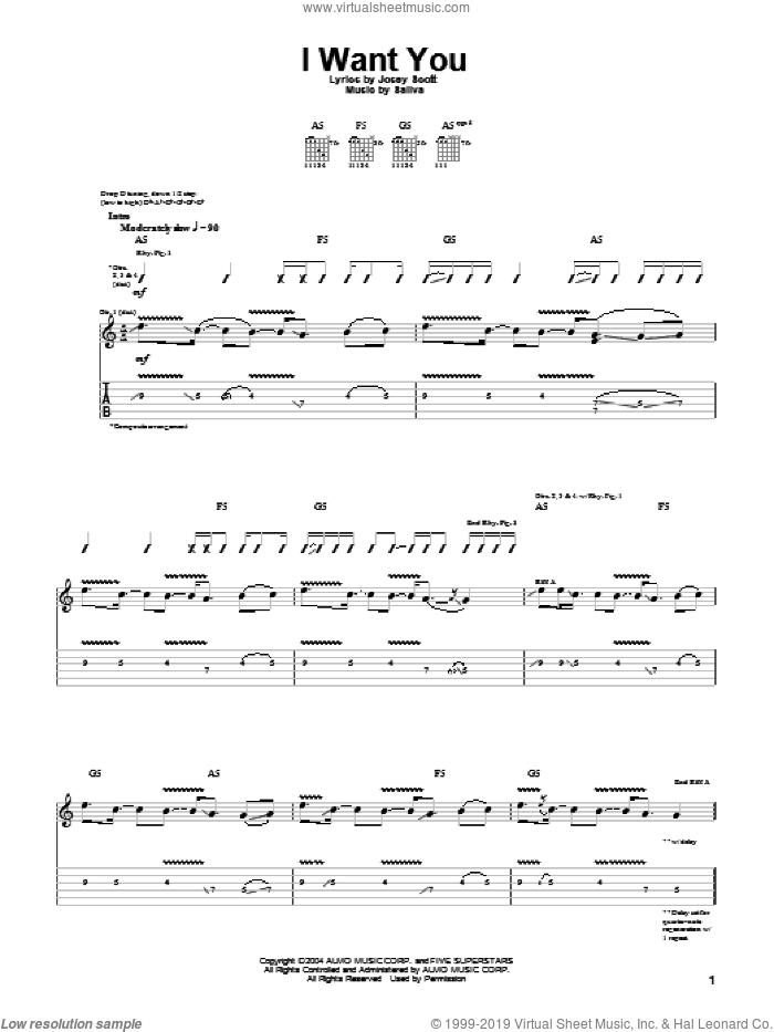 I Want You sheet music for guitar (tablature) by Saliva and Josey Scott, intermediate skill level