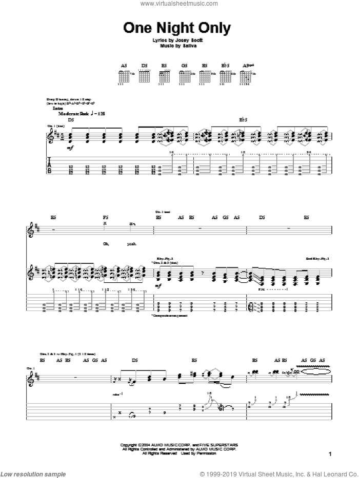 One Night Only sheet music for guitar (tablature) by Josey Scott