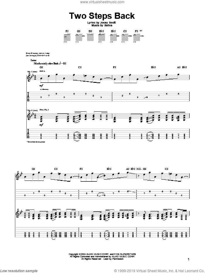 Two Steps Back sheet music for guitar (tablature) by Josey Scott