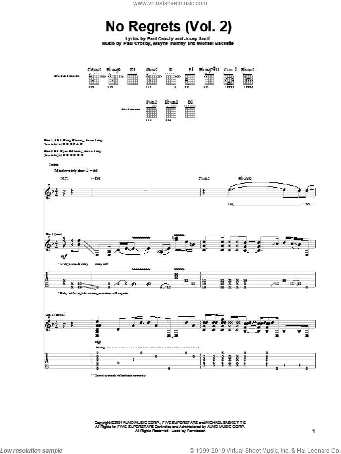 No Regrets (Vol. 2) sheet music for guitar (tablature) by Saliva, Josey Scott, Michael Baskette, Paul Crosby and Wayne Swinny, intermediate