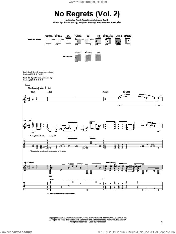 No Regrets (Vol. 2) sheet music for guitar (tablature) by Saliva, Josey Scott, Michael Baskette, Paul Crosby and Wayne Swinny, intermediate skill level