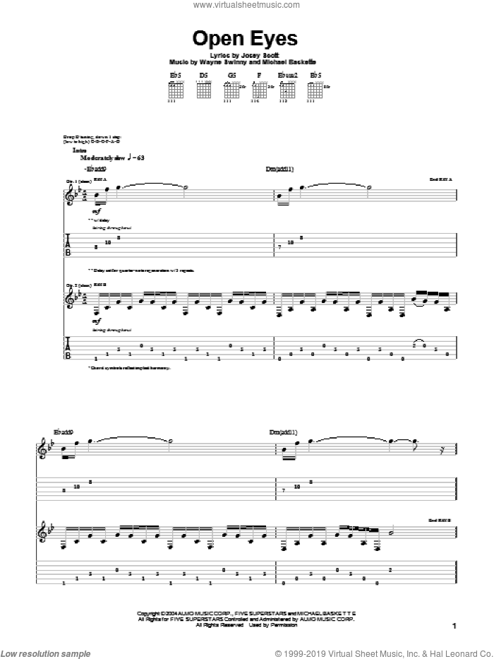 Open Eyes sheet music for guitar (tablature) by Wayne Swinny and Josey Scott. Score Image Preview.