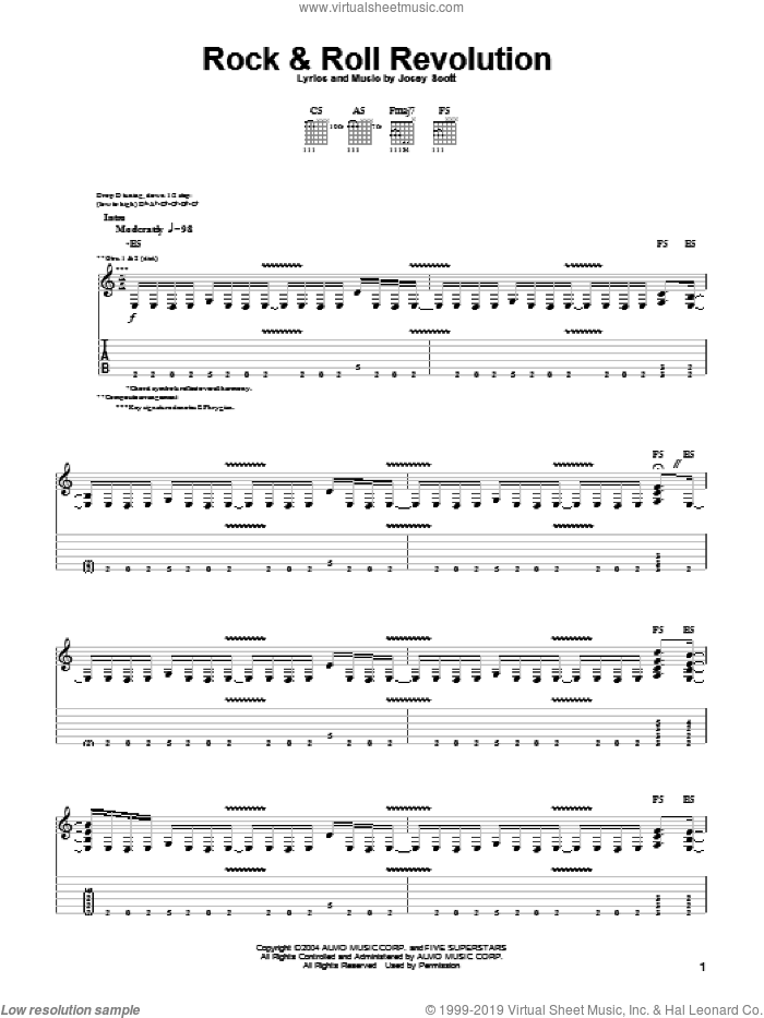 Rock and Roll Revolution sheet music for guitar (tablature) by Saliva