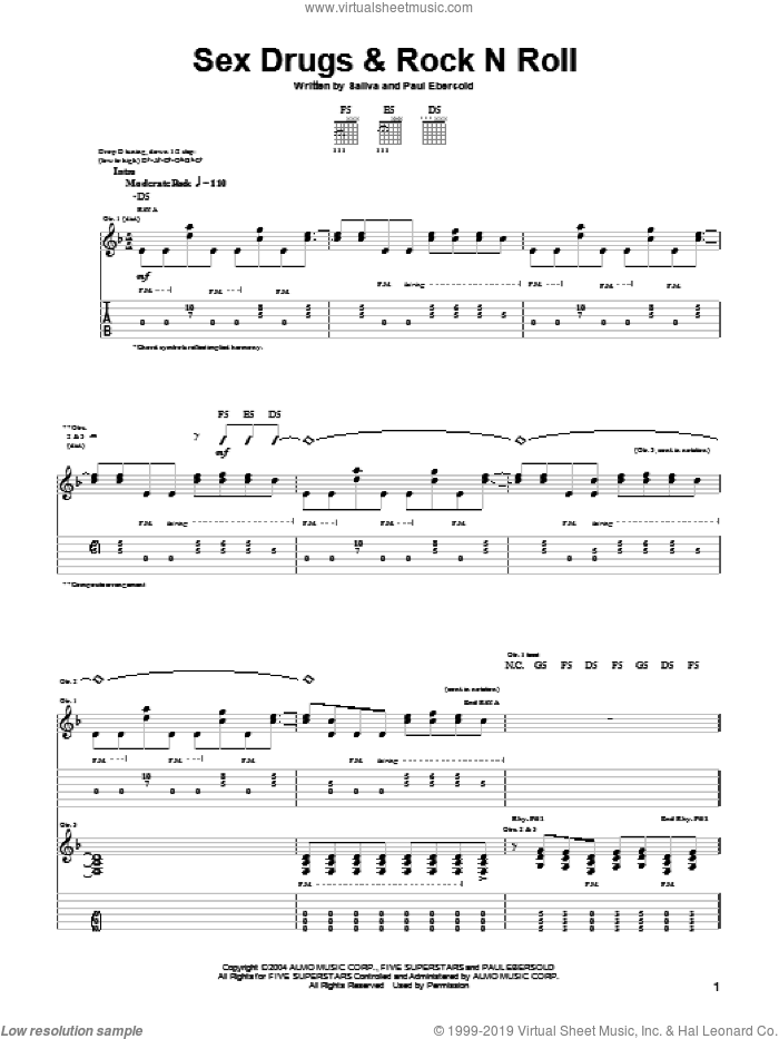Sex Drugs and Rock N Roll sheet music for guitar (tablature) by Paul Ebersold. Score Image Preview.